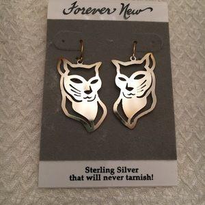 Sterling Silver Cat Head Earrings